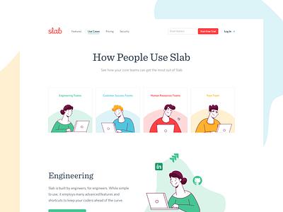 Slab Use Cases slab web design blob typography design illustration branding focus lab ux ui
