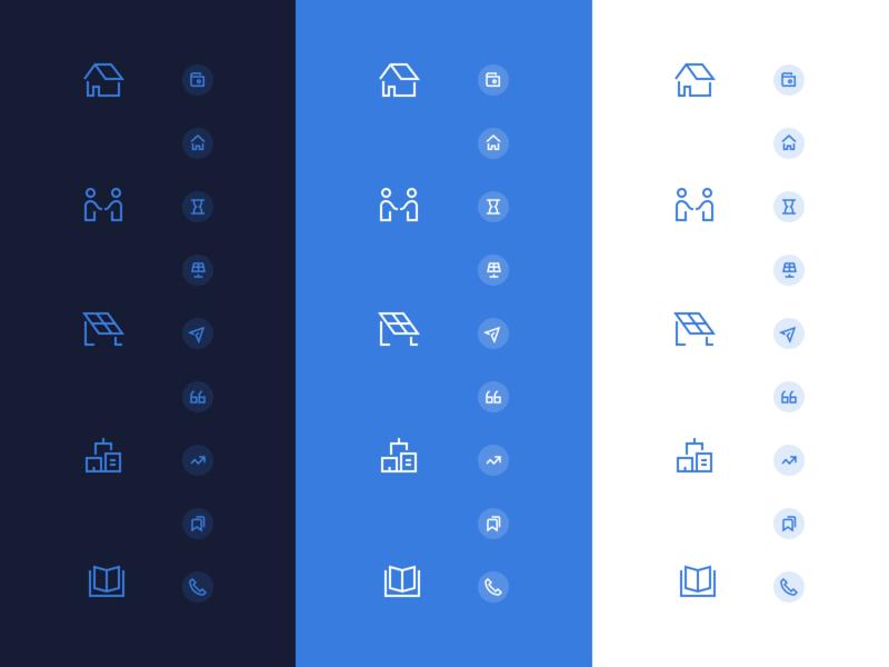 2px and/or 1.5px Icons ¯\_(ツ)_/¯ uidesign focuslab icon set community solar solar branding agency branding stroke iconography icon