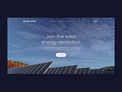 Bluewave Hero Animation type typography branding landing page solar focus lab web visual design website hero animation ui