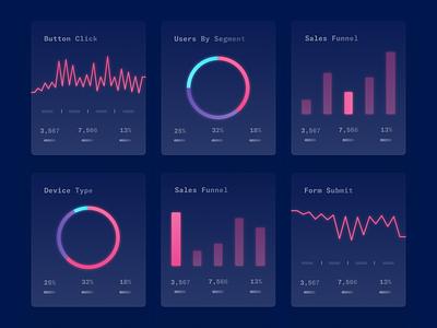 Data Illustration glow neon card style card data visualization data illustration