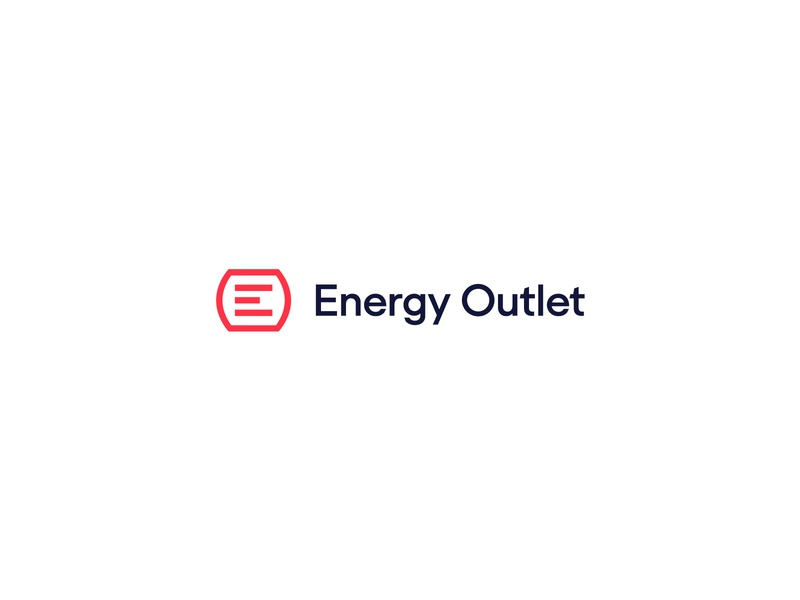 Energy Outlet logotype lockup outlet red e trademark mark green energy energy branding logo