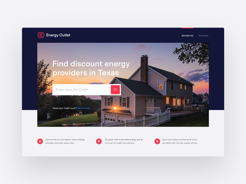 EO Home landing page hero brand ux ui shopping outlet energy outlet energy branding logo website