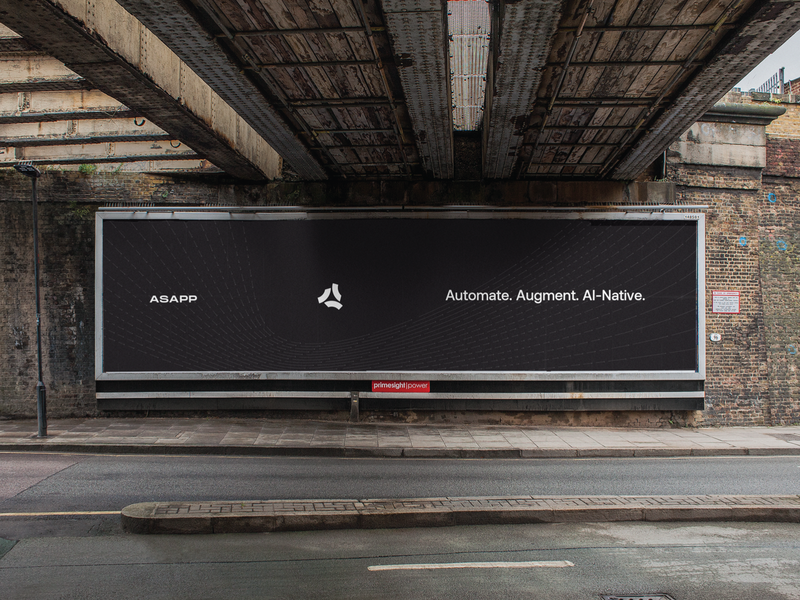 Automate. Augment. AI-Native. visual language brand identity asapp ai-native arrows billboard logo branding brand