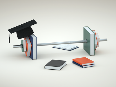 💪🎓 cg cgi zinzen octane cinema4d c4d illustration 3d books education knowledge