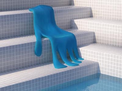 🖐✨ 2020 digital art zinzen cg cgi octane 3d art illustration cinema4d c4d 3d swimming pool pool glove pandemia summer hot