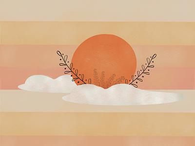 Sunset Boho Minimalistic Art custom minimalistic art website illustration landing page art landing page illustration sun art illustrations illustraion lanscape boho art minimalistic sky sunset sun illustration art procreate illustration digital