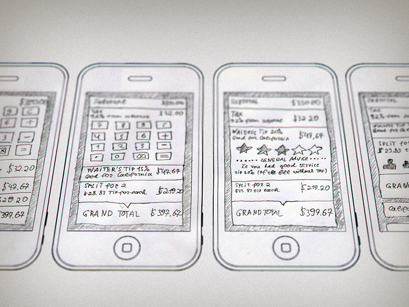 Fancy Tips - First Sketches  ios fancy tips tipping sketch wireframes