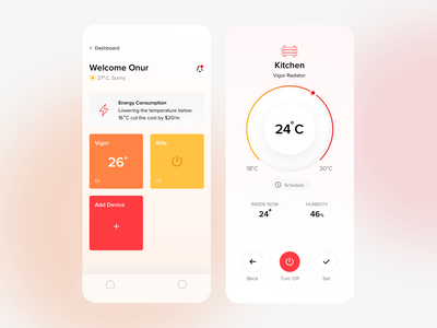 Quup Heating - Dashboard / Temperature setting user interaction user interface ui dashboard degree app home smart device mobile app smart app smart home quup onurkurt onur heating heat temperature