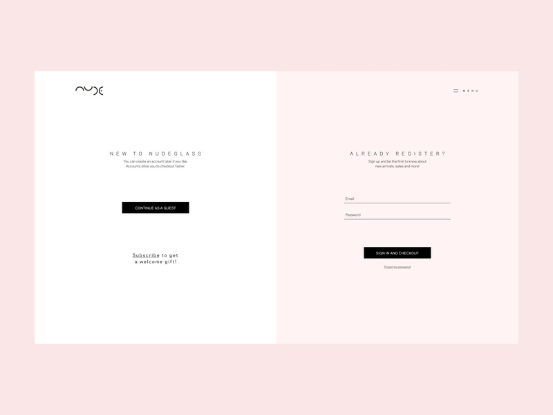 Sign In or Register ux design soft colors art direction nudeglass clean  creative minimal pink form design sign in