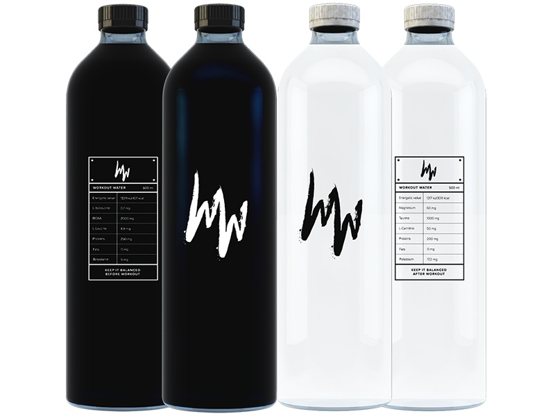 Workout Water identity logo packaging branding white black water workout bottle mockup design minimal