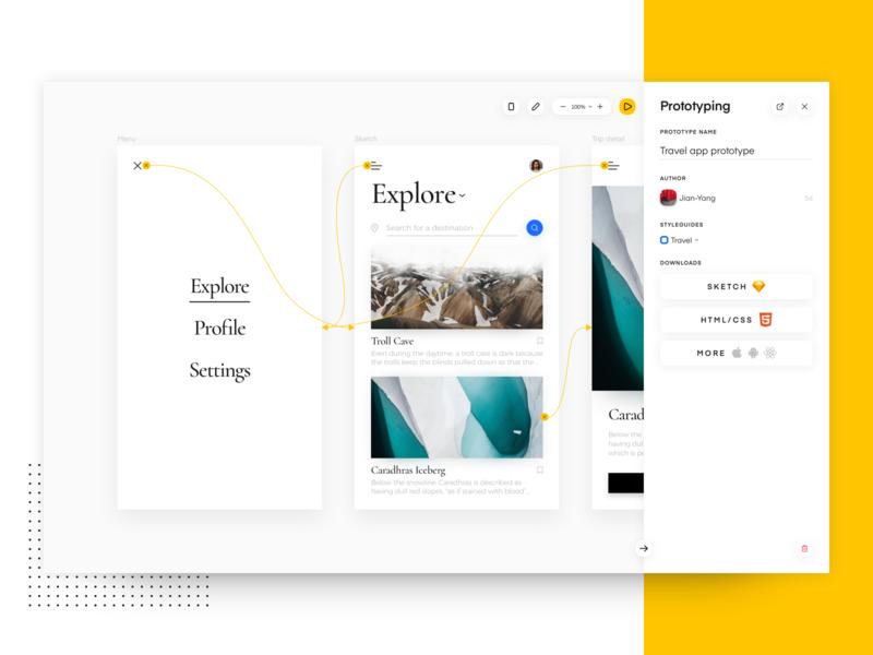 Uizard Prototyping interactive prototype interface platform css html sketch app prototyping ux ui minimal uizard design