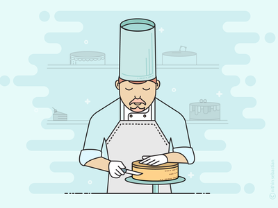 Pastry chef illustration vector ui bake bakery hotel chefs chef cake pastry
