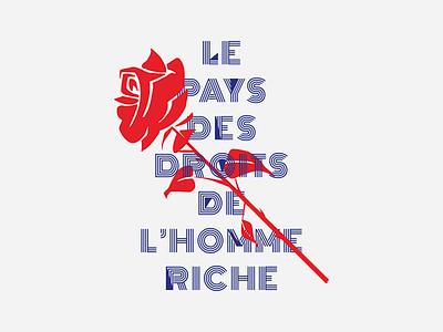 Le Pays des Droits de l'Homme Riche marie antoinette revolution mark letter typography print poster rose news rich rights human