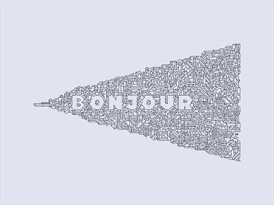 Bonjour Artwork simple modern balance construction houses minimal art vector peace world hello bonjour