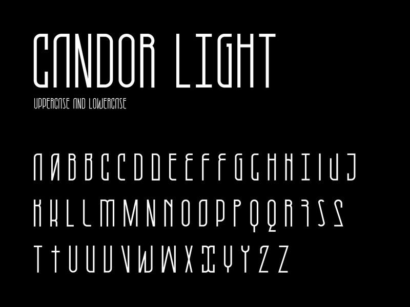 Candor light character set vector letter modern type typography typeface light font character character set