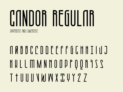 Candor regular character set fontself vector typography typeface type modern regular letter font character set character