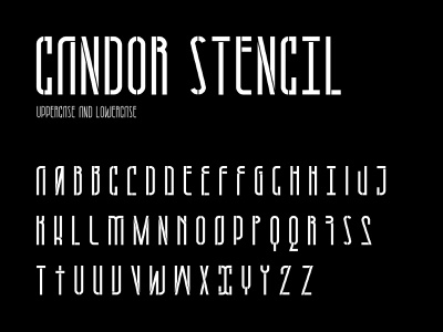 Candor stencil character set vector typography typeface type modern letter fontself font character set character stencil
