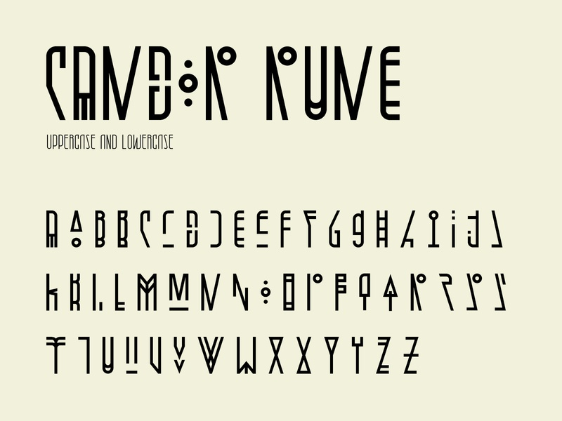 Candor rune character set vector typography typeface type tribal rune modern letter fontself font character set character