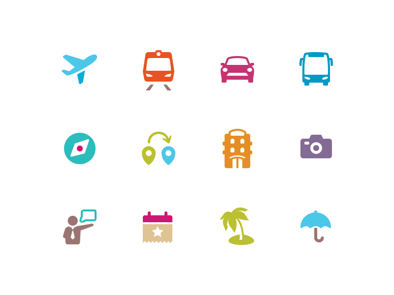 travel icons by alex potapenko on dribbble