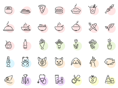 Categories cat dog pets gifts flowers sushi burger pizza food store icons categories