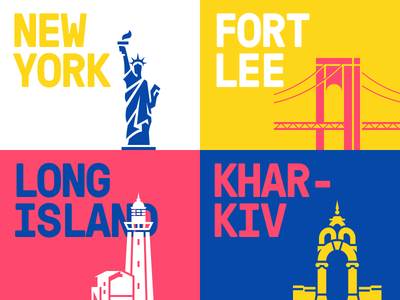 Offices Locations ux ui typography illustration icon ukraine usa new york country city office