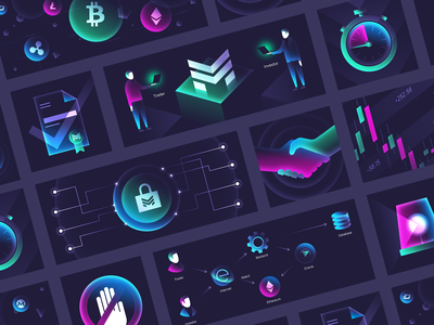 Online Trading and Blockchain Illustrations ethereum bitcoin science neon trading blockchain graphics illustrations