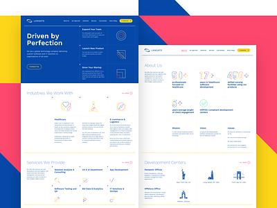 Corporate Website vector design flat concept developers landing geometric modules website ui ux