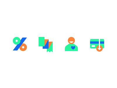 Benefits ticket receipt payment user discount set icons