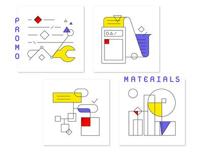 promo 1 promo data settings flat linear icon card illustration