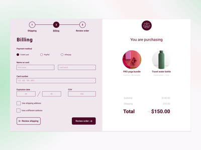 Daily UI  #002:  Checkout screen minimal ux ui design