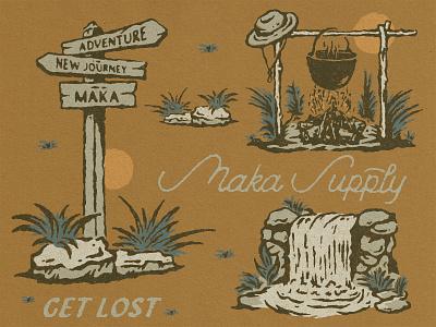 Get Lost Maka badge design vintage logo illustration logo merchandise vintage design badge