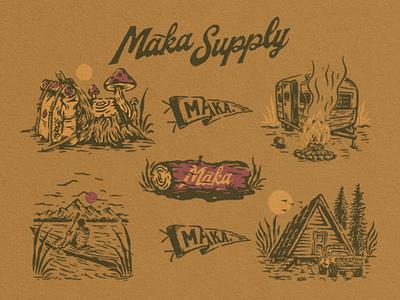 Maka Flash Sheets 03 vector branding merchandise vintage illustration vintage logo vintage design logo badge design badge