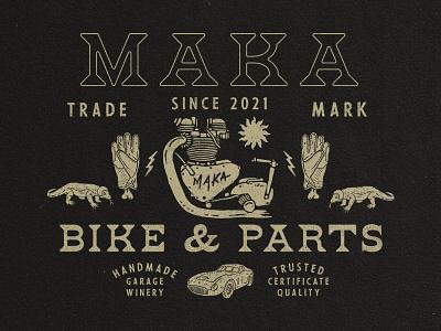 Maka Garage typography vintage branding illustration vintage logo vintage design merchandise logo badge design badge
