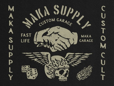 Maka Garage typography branding vintage illustration vintage logo vintage design merchandise badge design badge