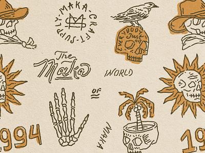 Skull Collection Part 01 sun skull typography branding vintage illustration vintage logo vintage design merchandise badge design badge