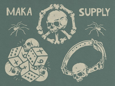 Maka Skull Elements design vintage illustration vintage logo vintage design merchandise badge design badge