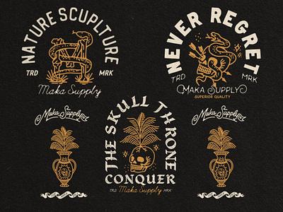 Maka Badge Skull Illustrattion vector skull branding vintage illustration vintage logo vintage design merchandise badge design badge