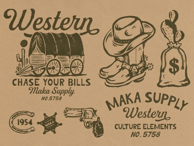 Maka Western Illustration typography outdoor western branding illustration vintage vintage logo vintage design merchandise badge design badge