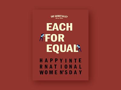 International Women's Day Poster for The Gasket Alley branding minimal illustration flat design