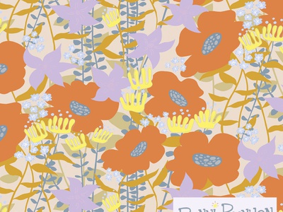 Groovy Grove Day Pattern leaves patterns surface design illustration art flowers floral abstraction psychedelic groovy retro vintage illustrator digital illustration pattern art repeat pattern pattern design surface pattern design botanical illustration pattern