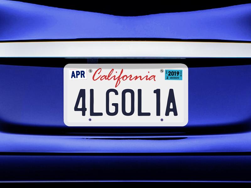 Algolia License Plate Sticker registration drive april 2019 california license plate car white blue algolia vector illustration illustrator