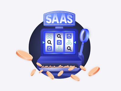 SAAS Jackpot identity ui magnifying glass casino cartoon design branding typography vector illustrator algolia slot machine illustration