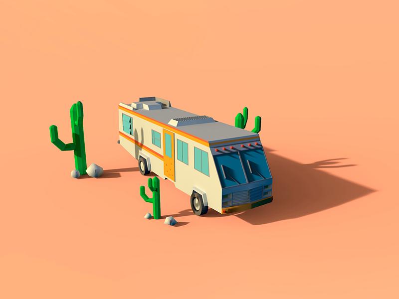 Trailer Breaking Bad render modeling 3d low-poly bad breaking trailer