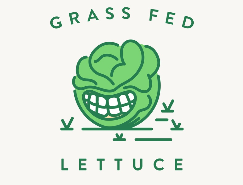 Grass Fed Lettuce drawing craftbeer typography fed grass lettuce linework simple design icon illustration vector