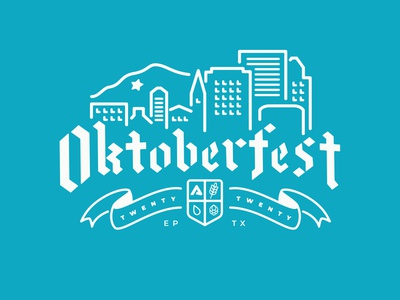 Oktoberfest 2020 cheers elpaso texas building typography design drawing simple vector illustration craftbeer beer oktoberfest