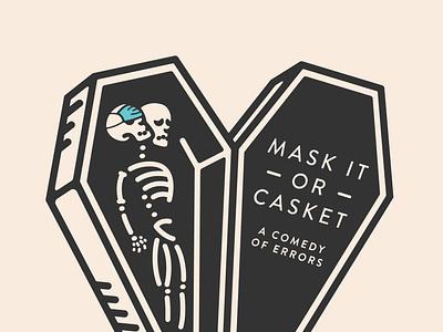 Mask It or Casket mask casket drawing simple icon design illustration vector