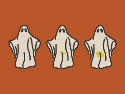 Ghostie Pee-pee halloween pee ghost simple icon vector illustration