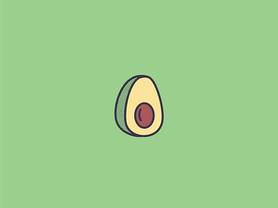 Aguacate avocado simple drawing design halftone illustration icon vector