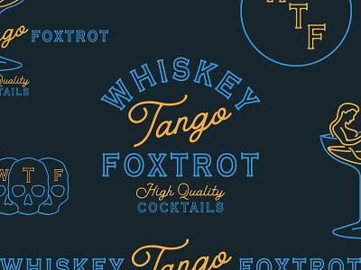 Whiskey Tango Foxtrot Logo design icon illustration vector branding wtf foxtrot tango whiskey neon typogaphy logo lounge cocktail