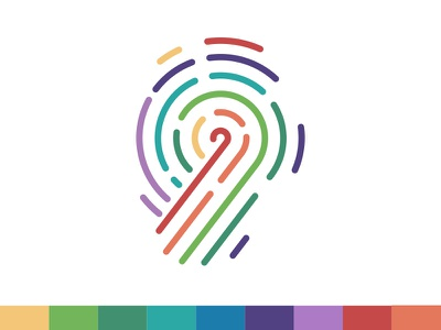 Your Turn Coaching Icon fingerprint color personality enneagram simple branding logo design icon illustration vector